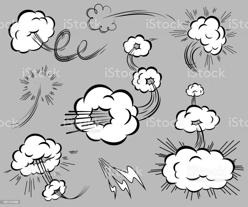 Conjunto de elementos de velocidade no estilo dos quadrinhos. - ilustração de arte em vetor