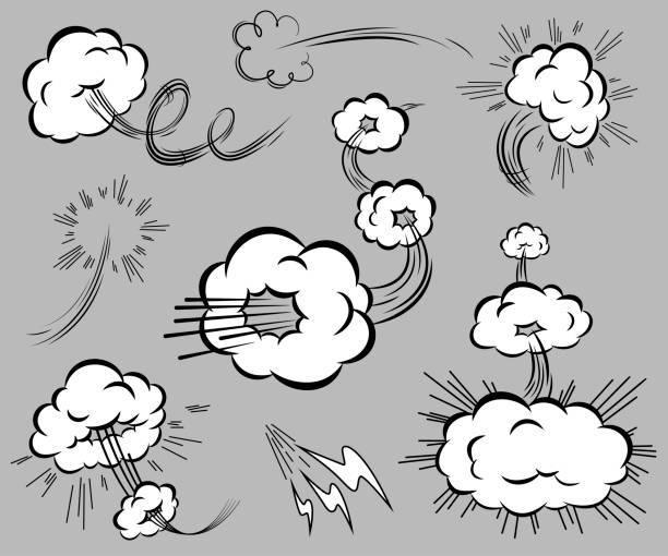 漫画のスタイルのスピード要素のセットです。 - 煙点のイラスト素材/クリップアート素材/マンガ素材/アイコン素材