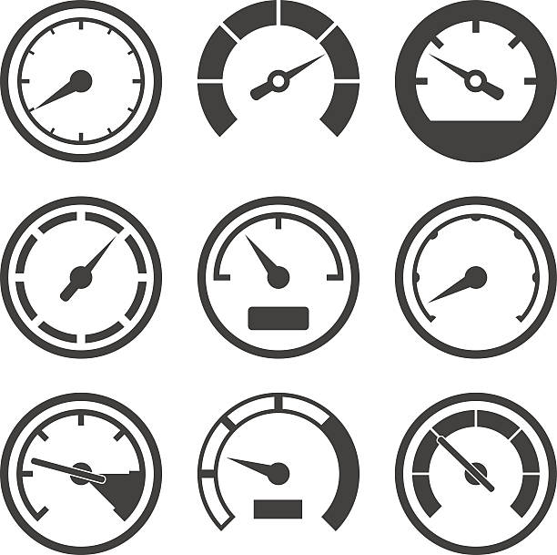 Set of speedometers and dashboard device scales Set of speedometers and dashboard device scales gauge stock illustrations