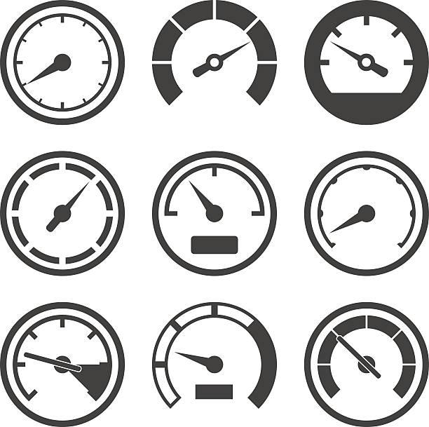 ein satz von strich auf dem bildschirm sichtbar und dashboard gerät waage - nummernscheibe stock-grafiken, -clipart, -cartoons und -symbole