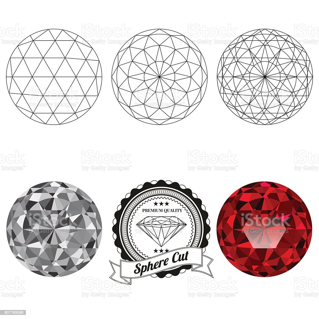 Set of sphere cut jewel views vector art illustration