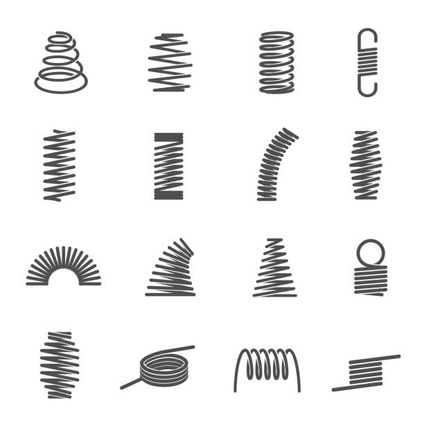 Set of spiral coil springs or curved elastic wires Collection of spiral coil springs or curved elastic wires isolated on white background. Bundle of stretched or compressed industrial metal tools. Flat monochrome vector illustration for logotype. spring stock illustrations