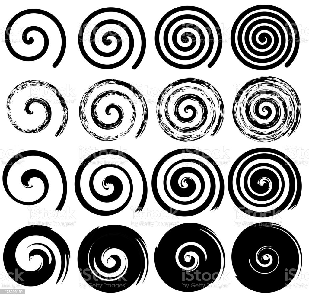 Set of spiral motion elements, black isolated vector objects vector art illustration