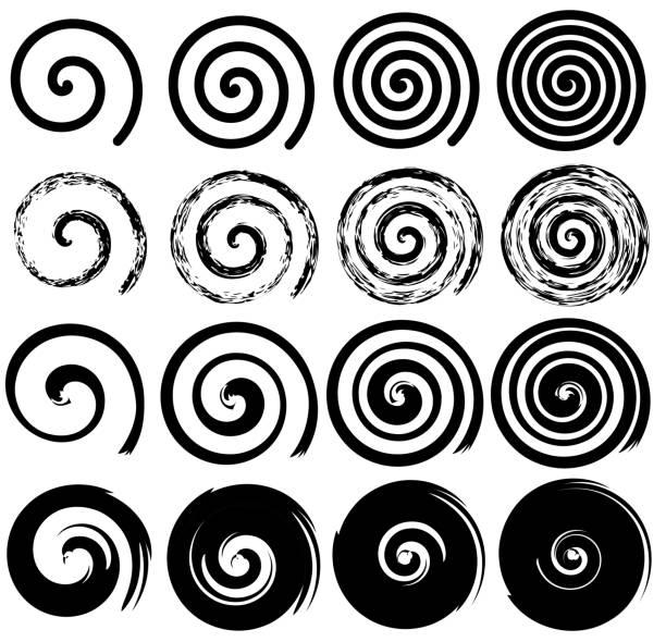 zestaw spiralny ruch elementów, czarny pojedyncze obiekty wektorowe - zwinięty aranżacja stock illustrations