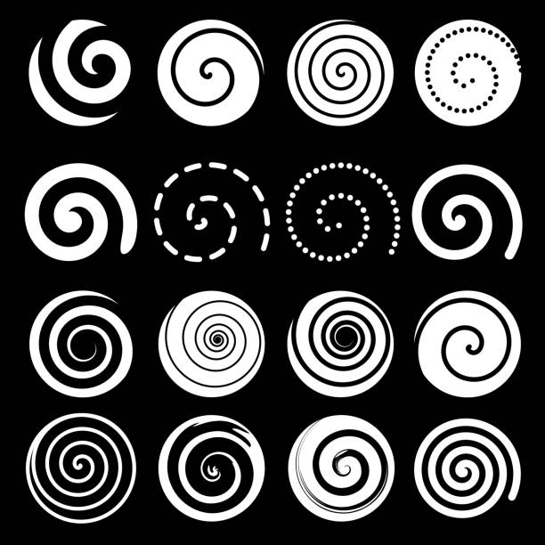 set of spiral motion elements, white isolated objects, vector - spiral stock illustrations, clip art, cartoons, & icons