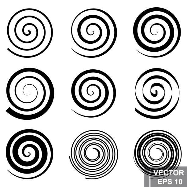 set of spiral. silhouette. the black. a circle. the form. for your design. - спираль stock illustrations