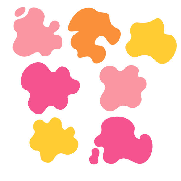 Set of splash icons isolated on white background. Uneven shapes. Vector illustration Set of splash icons isolated on white background. Uneven shapes. Vector illustration funky stock illustrations