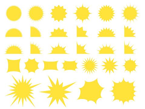 Set of splintered yellow speech bubbles.