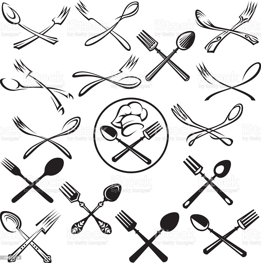 set of spoon and fork vector art illustration