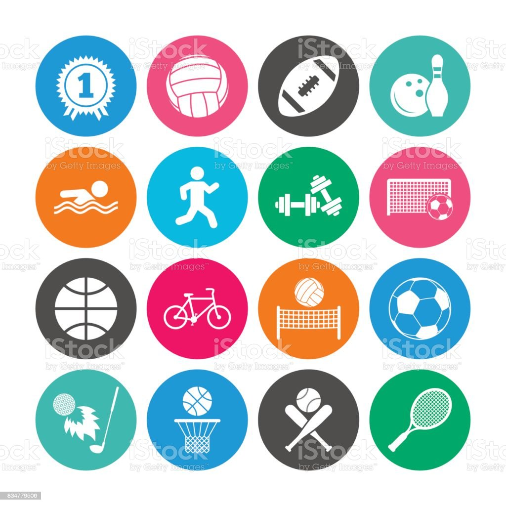 Set of Sport and Fitness icons. vector art illustration