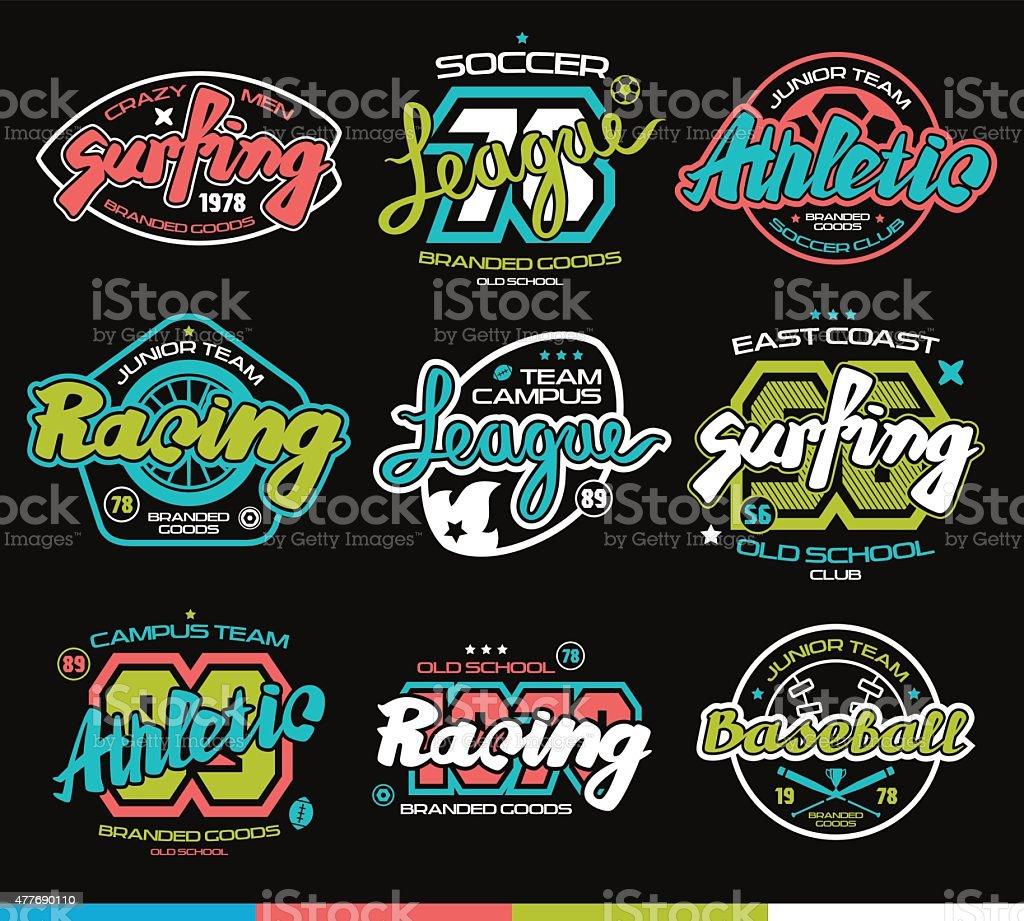 Set of sport badges. Graphic design for t-shirt vector art illustration