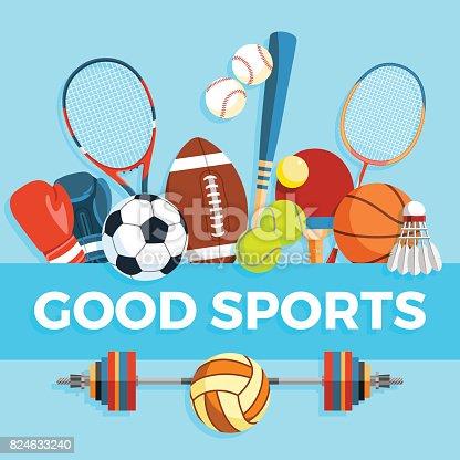 Conjunto de bolas de esporte e itens do jogo em um fundo azul. Ferramentas de estilo de vida saudável, elementos. Inscrição esportes boas. Ilustração em vetor.