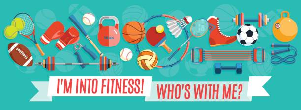 set of sport balls and gaming items at a turquoise background. healthy lifestyle tools, elements. vector illustration. - sports equipment stock illustrations, clip art, cartoons, & icons
