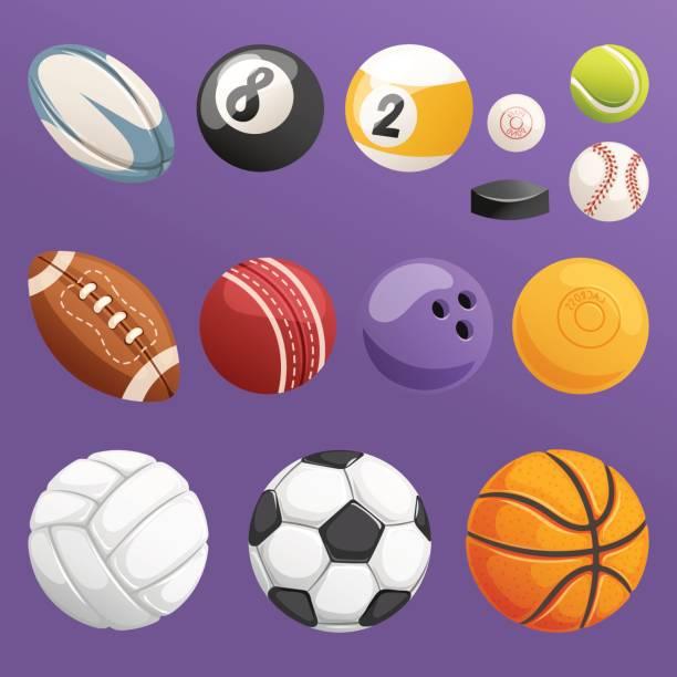 satz von sport kugeln isoliert vektor kollektion - rugby stock-grafiken, -clipart, -cartoons und -symbole