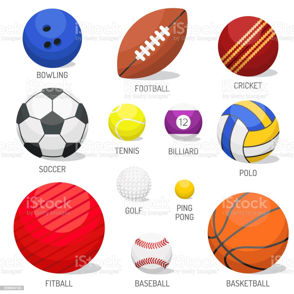 Set of sport balls isolated vector. - ilustración de arte vectorial
