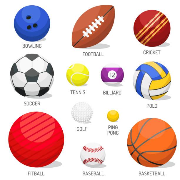 set of sport balls isolated vector. - 橡膠 幅插畫檔、美工圖案、卡通及圖標