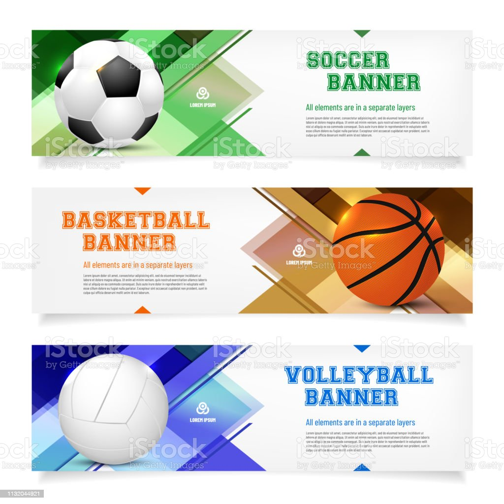 Set of sport banner templates with ball and sample text in separate...