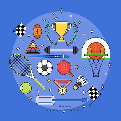 Set of Sport editable stroke,Competition league,Icon set editable stroke