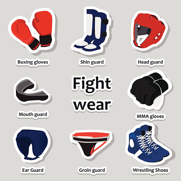 set of sport equipment for martial arts - wrestling stock illustrations, clip art, cartoons, & icons