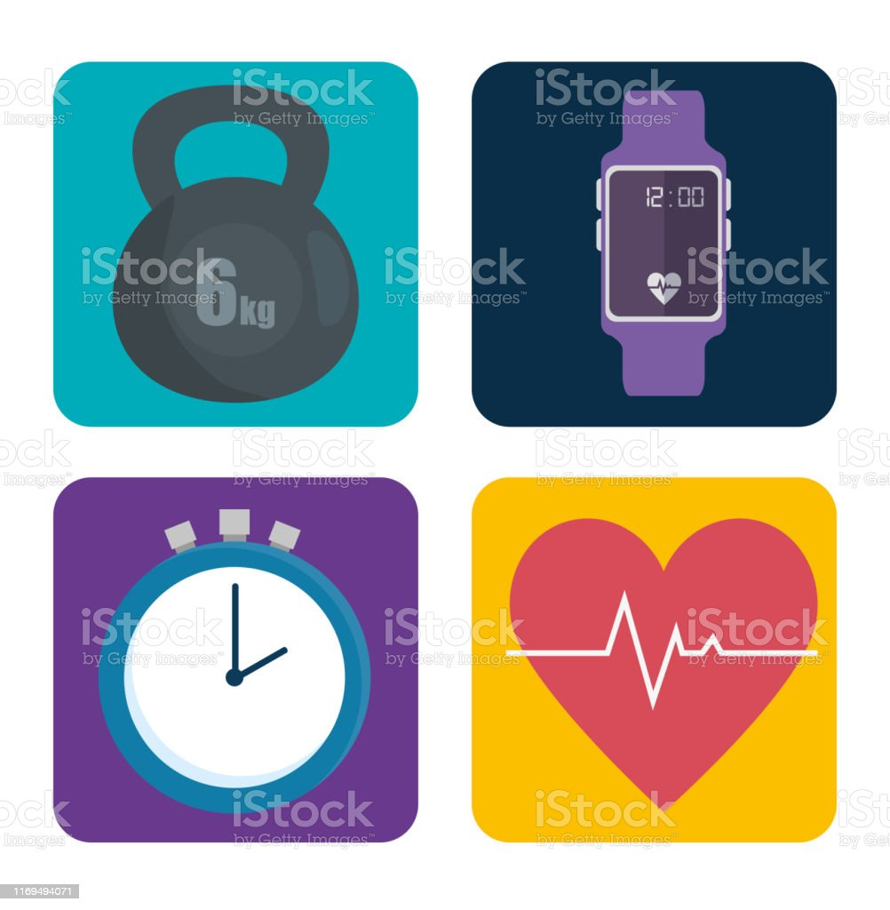 set of sport exercise icons to healthy lifestyle over white...