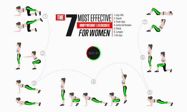 Satz von Sportübungen. Übungen mit freien Gewichten – Vektorgrafik