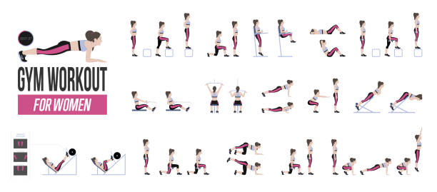 Set of sport exercises vector art illustration