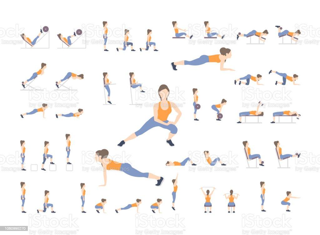 Sport-Übungen – Vektorgrafik
