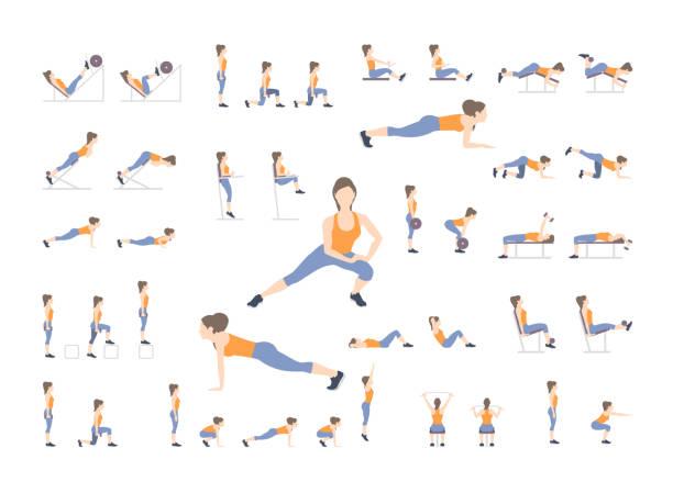 illustrazioni stock, clip art, cartoni animati e icone di tendenza di set of sport exercises - esercizio fisico
