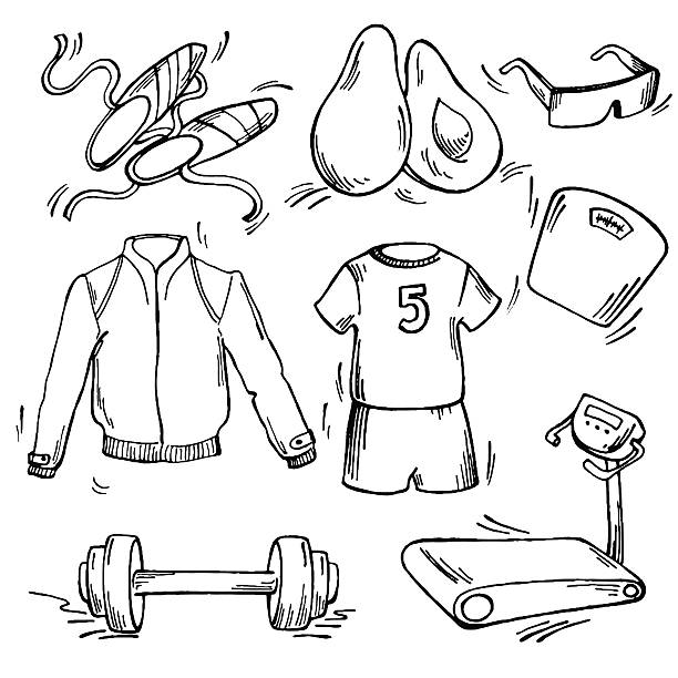 Set of sport icon Set of sport icon. Pen sketch converted to vectors. avocado silhouettes stock illustrations