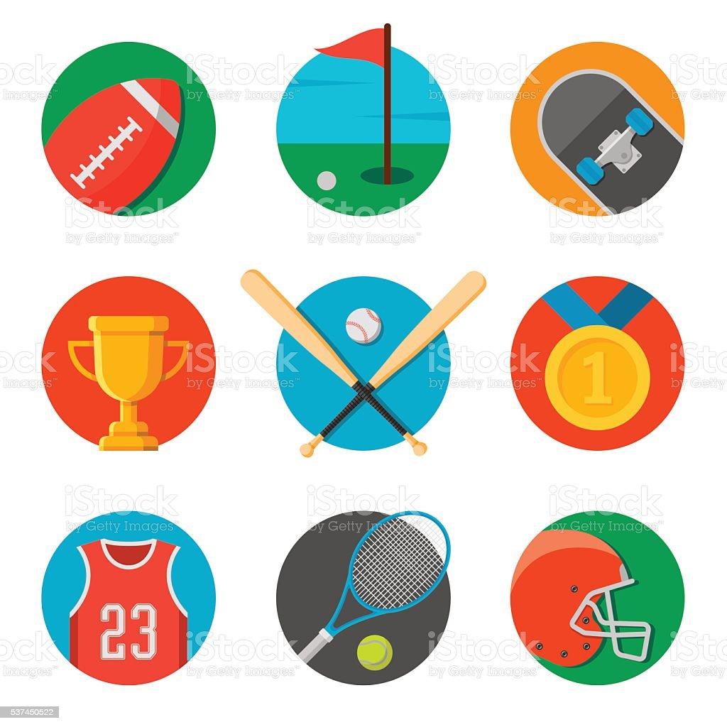 set of sport icons. flat style vector illustration vector art illustration