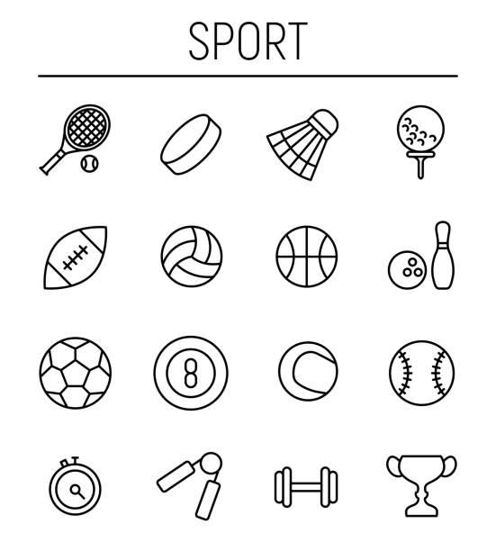 stockillustraties, clipart, cartoons en iconen met set van sport iconen in moderne dunne lijnstijl. - netball