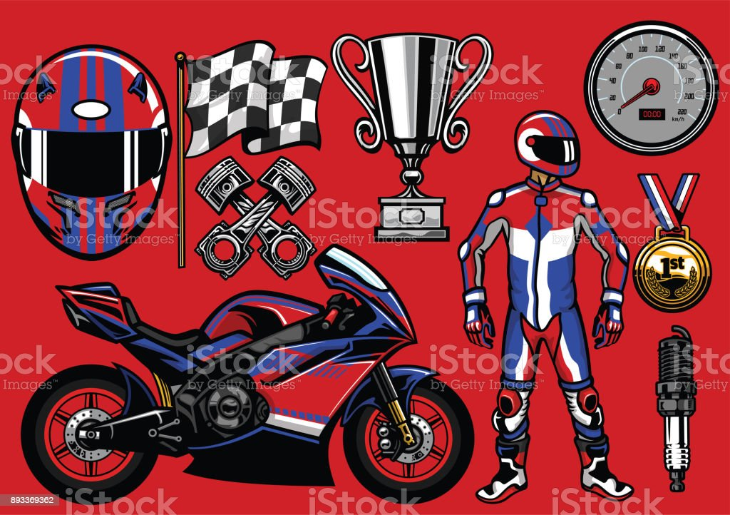 set of sport motorbike racing elements vector art illustration