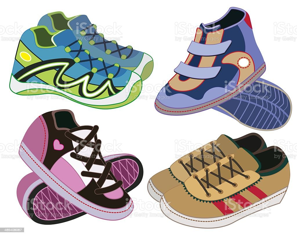 set of sport shoes (vector illustration) royalty-free stock vector art