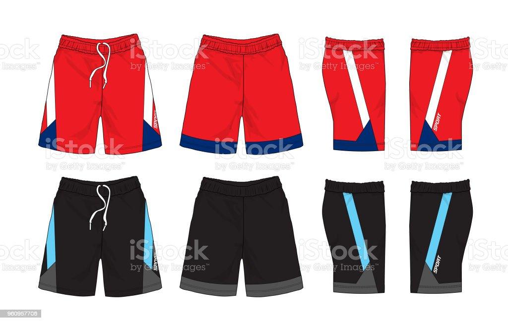Sport Shorts Vorlage-Set - Lizenzfrei Aktiver Lebensstil Vektorgrafik