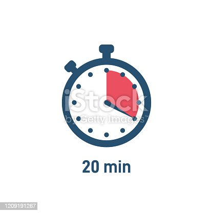 Set of stopwatch icons showing time - 20 minutes or seconds. Red and black color. Set of minimalist timers. Cooking time concept. Vector illustration