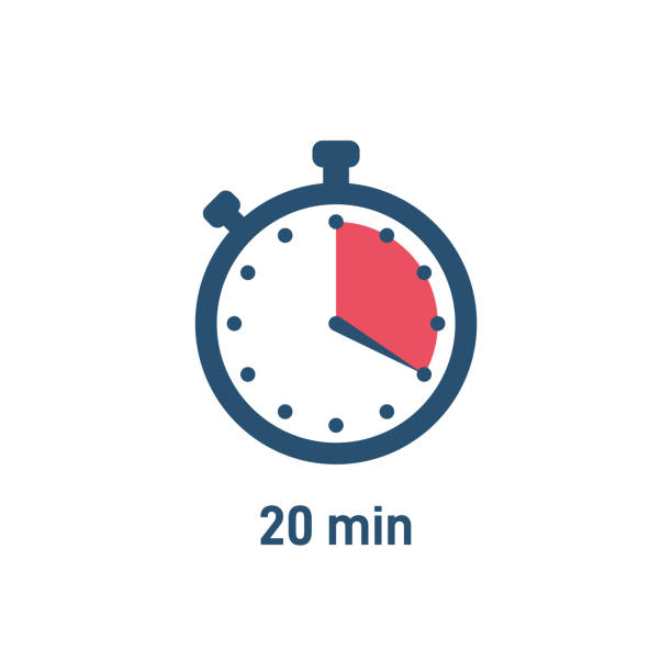 Set of sport stopwatch icons showing time Set of stopwatch icons showing time - 20 minutes or seconds. Red and black color. Set of minimalist timers. Cooking time concept. Vector illustration instrument of time stock illustrations