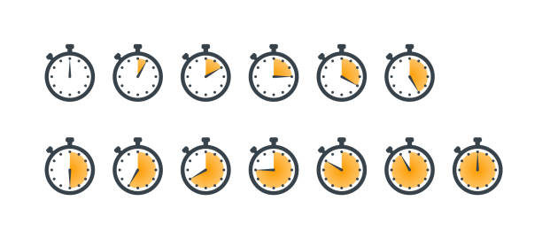Set of sport stopwatch icons showing time Set of stopwatch icons showing time - 5,10,15,20,25,30,35,40,45,50,55 minutes or seconds. Yellow and black color. Set of minimalist timers. Cooking time concept. Vector illustration clock stock illustrations