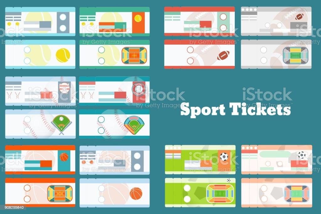 Set of sport tickets vector art illustration