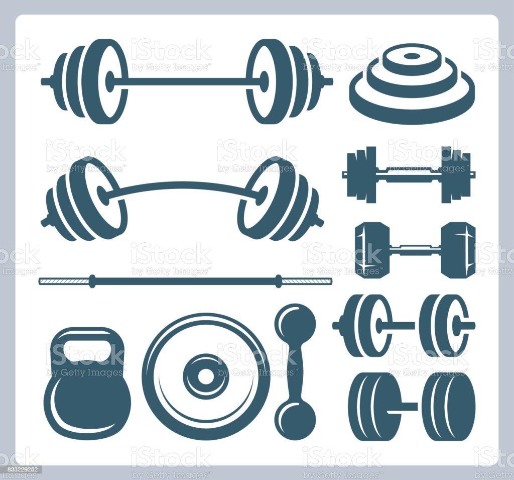 Conjunto de pesas de deporte para culturismo, fitness y levantamiento de pesas ilustración de conjunto de pesas de deporte para culturismo fitness y levantamiento de pesas y más vectores libres de derechos de artículos deportivos libre de derechos