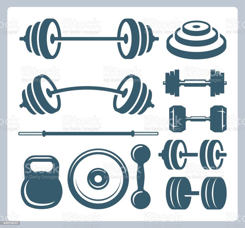 Set of sport weights for bodybuilding, fitness and weightlifting векторная иллюстрация