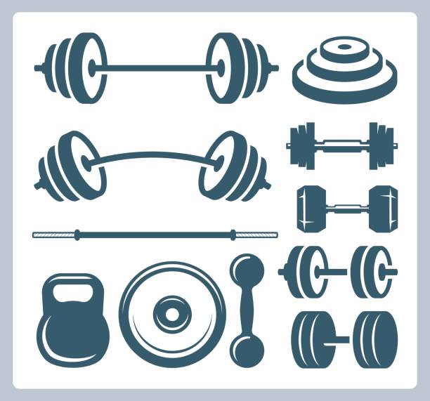 Set of sport weights for bodybuilding, fitness and weightlifting Set of sport weights for bodybuilding, fitness and weightlifting weight stock illustrations