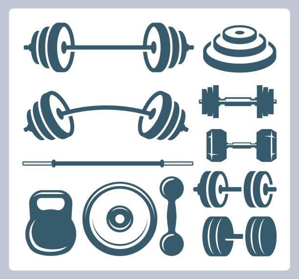 Conjunto de pesas de deporte para culturismo, fitness y levantamiento de pesas - ilustración de arte vectorial