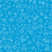Seamless pattern. Set of sporting goods for kids. Vector doodle Illustration. Sketch line on blue background. Scooter, rollers, skate, bicycle, sneakers, backpack, helmet, water. Summer children's holiday