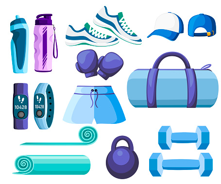 Set of sports accessories and clothes. Blue and purple color collection. Icons for classes in the gym. Vector illustration isolated on white background