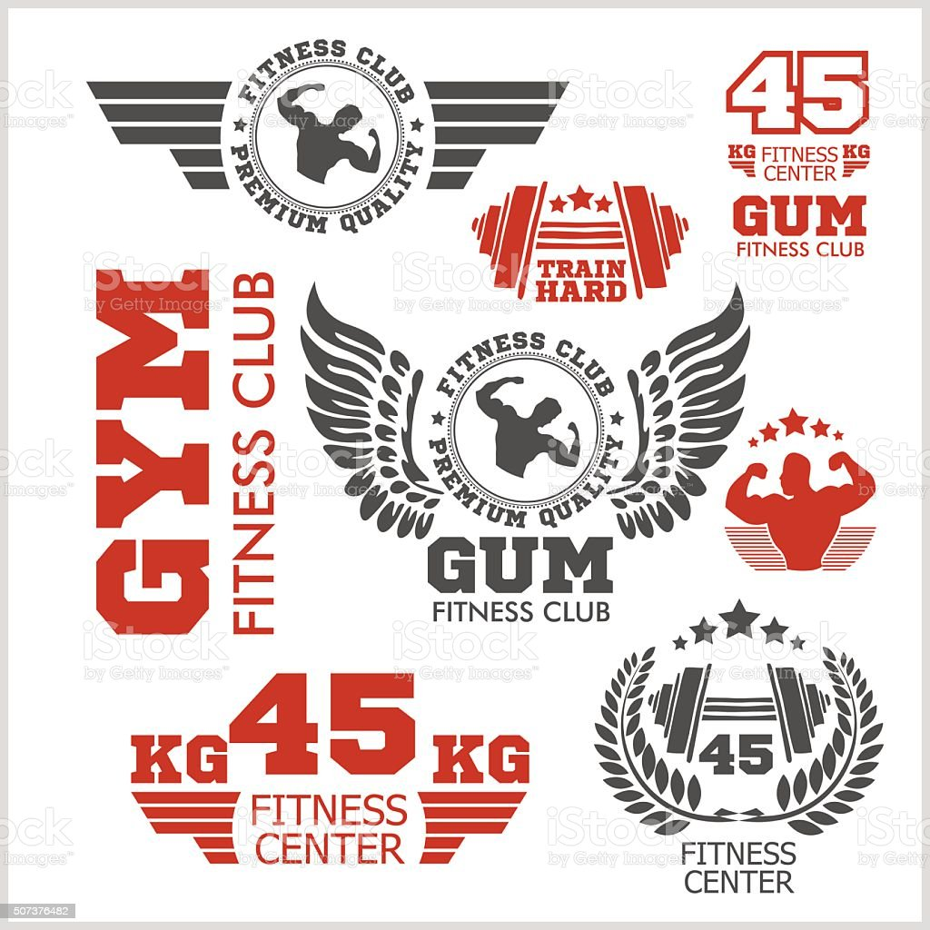 Set of sports and fitness labels vector art illustration