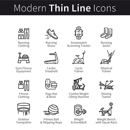Set of sports and gym equipment icons
