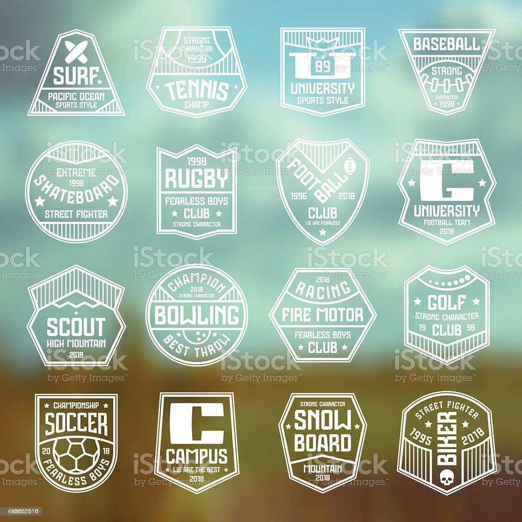 Set of sports badges vector art illustration