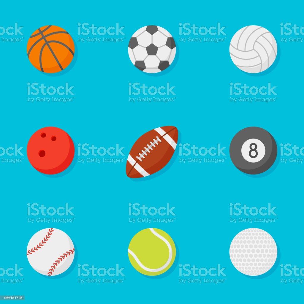 青色の背景のスポーツ ボール フラット スタイル アイコンのセット ベクターアートイラスト