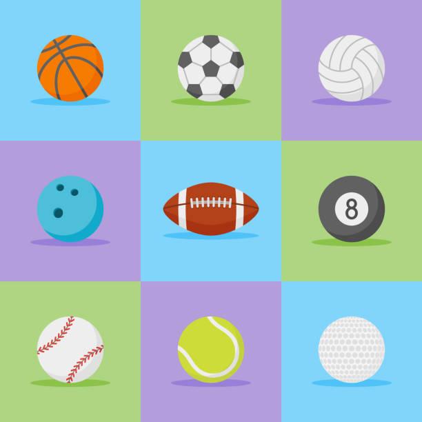 Set of sports balls flat style icons. vector art illustration
