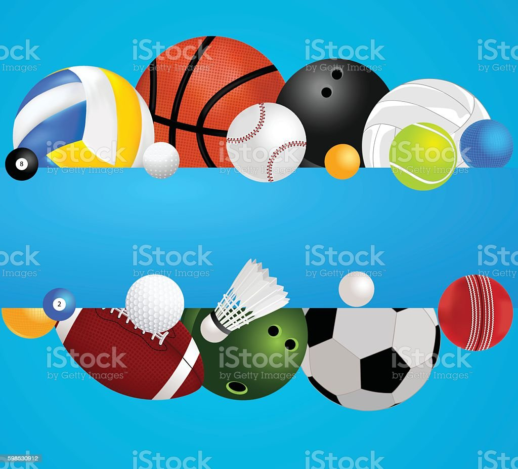 set of sports balls with banner stock vector art 598530912 istock